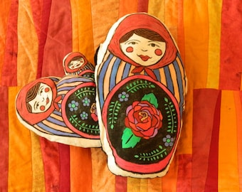 Russian Nesting Doll Nesting Pillows - Maroon, Purple and Peach