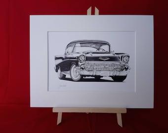 Chevrolet Bel Air 1957 Giclee Print.