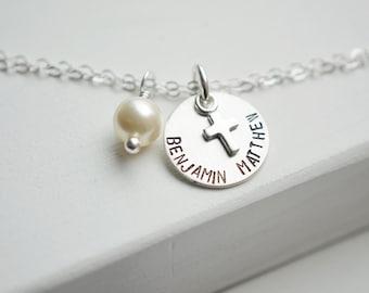 Sterling Silver Cross Bracelet   Pearl Bracelet   Personalized Name or Date   Faith Christian Christening Gift   Silver Baptism Bracelet