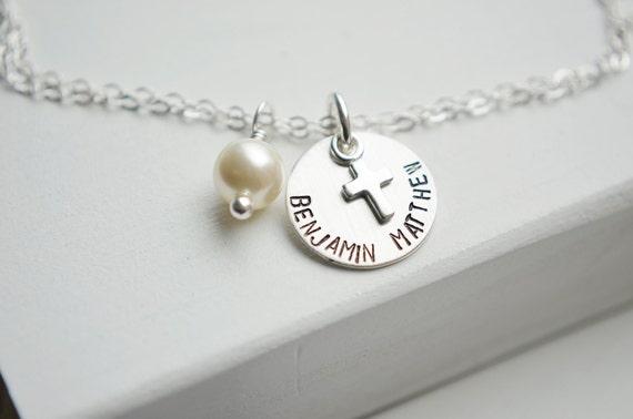 Sterling Silver Cross Bracelet | Pearl Bracelet | Personalized Name or Date | Faith Christian Christening Gift | Silver Baptism Bracelet