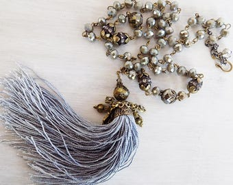 FLASH SALE - Tassel necklace, tassel necklace Taupe and Gray, beaded rosary chain, ornate tassel, unique tassel, long necklace, boho