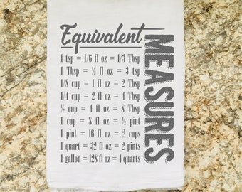 Kitchen Gift Equivalent Measurements Kitchen Conversions Cooking Baking Dish Towel Flour Sack Tea Towel