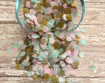 Confettis de papier de soie, menthe rose et or cercle décor de fête, saupoudrer de table, confettis de la fête, 1er anniversaire décor, confetti, confettis de mariage