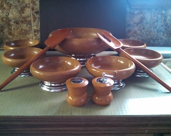 1950's Cherry Wood 11 Piece Salad Set