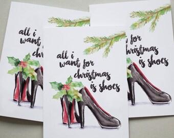 Christmas Cards 6 Pack - Shoes Shopaholic Fashion Funny Set Xmas Cards XMPACK038_CP