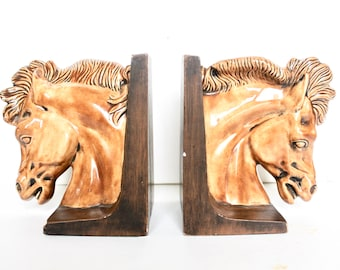 Vintage ceramic horse head book ends / 70s book ends /Vintage Horse head bookends