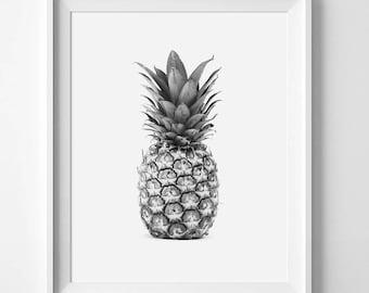Pineapple Photography, Pineapple Print, Pineapple Art, Pineapple Photo, Pineapple, Black And White, Printable, Digital Download, Wall Art