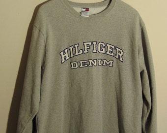 Vintage Tommy Hilfiger Jeans Mens XL Crewneck Sweatshirt Big Logo Spell Out Embroidered Hip Hop Denim Gray 90s