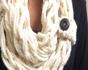 Chunky Arm Knit Trendy Scarf with Accent Button