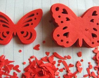 100 , RED, Paper, butterflies, scrapbooking, card making, confetti, wedding, by DoodleDee2 on etsy