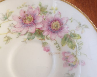 Royal Doulton PASSION FLOWER Symbol of Peace Saucer - Artist Signed - P Curnock