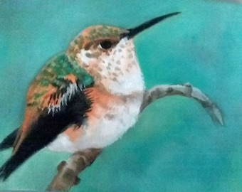 "Hummingbird Art Bird Painting 6"" X 8"" Canvas Oil Painting Original Bird Art Nature Wall Decor Animal Painting Bird Lover Country Decor"