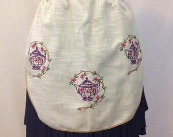 Vintage Half Apron Hostess Apron Embroidered Teapots //Handmade Linen Look Fabric //Victorian Tea Shop Look Apron