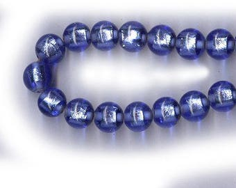 vintage cobalt blue foil BEADS round ART GLASS 8mm glass beads eight beads antique blue glass beads