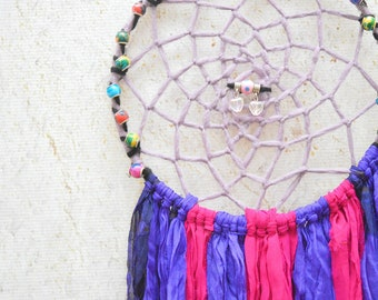 Purple and PInk Beaded Dreamcatcher, Dream Catcher, Dreamcatcher, Purple Dreamcatcher, Large Dreamcatcher, Wall Hangings, Boho Home Decor
