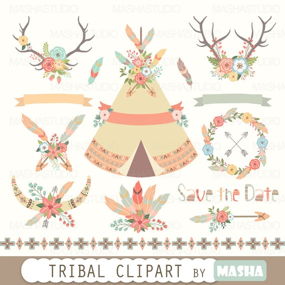 floral tribal clipart tribal clipart tribal tent indian clipart rh etsystudio com tribal clipart tribal clipart vector