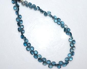 "1 Strand London Blue Topaz Faceted Heart Shape Beads - London Blue Topaz Briolette, 4x4 - 5x5 mm, 8.5"", BL1748"