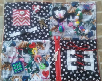 Activity Blanket, Fidget Blanket, Busy Blanket, AlzheimersTherapy, Dementia Therapy,Autism, Restless Remedy, Elderly Care,Nursing Home Needs