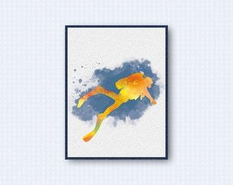 Scuba Diver Watercolor Poster