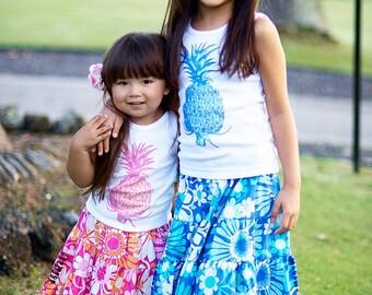 Pineapple Skirt Set - Girl Pineapple Tank - Hawaiian Skirt Outfit - Sister Beach Twirl Skirt 2T 3T 4T 5 6 7 8 10 12 14 16 Blue Pink Resort