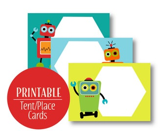 Robot Buffet Cards | Robot Tent Cards | Robot Birthday Party Decor Place Cards | Robot Labels | Printable Instant download | 1122