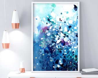 Abstract Blue Watercolor. Extra Large Art Prints. Seascape Painting Print. Sea House Decor. Large Watercolor Painting. Blue Decor Ideas.