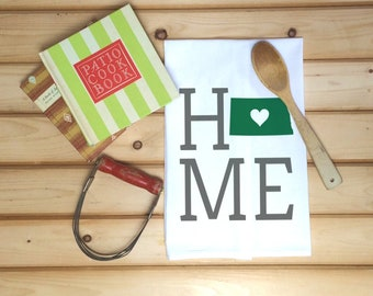 North Dakota State Flour Sack Towel, North Dakota State Tea Towel, Flour Sack Towel, Housewarming Gift, Wedding present, Real Estate Gift