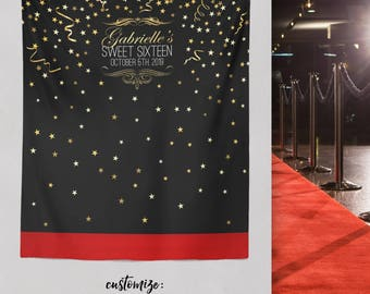 Red Carpet Sweet 16 Step and Repeat Backdrop, Sweet 16 Party backdrop, Sweet 16 Step and Repeat, Birthday Party Decor / H-T19-TP LIN1 AA3