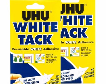 2 x UHU White Tack Handy 50g - Re Usable Economy White Adhesive Non-Stain