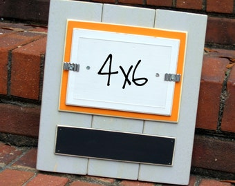 Picture Frame with Chalkboard - Holds a 4x6 Photo - Distressed Wood - Light Gray, Orange & White - Black Chalkboard