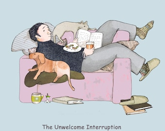 Unwelcome Interruption.A stolen moment of relaxation spoiled by the phone ringing ! printed card from collage original .