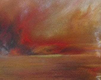 "Pastel ""Fire"" 25.5 cm x 18.5 cm in shades of red, yellow, Brown, ochre"