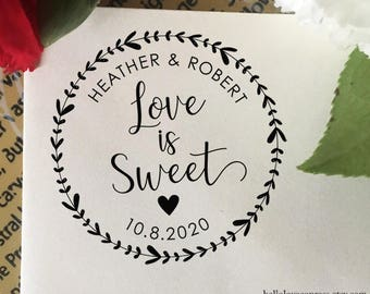 Love is Sweet Stamp, Wedding Favor Stamp, Self Inking Stamp, Wood Stamp, Custom Wedding Stamp, Personalized Stamp, Candy Bar, Floral Wreath
