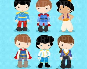Princes Digital Clipart / Fairytale Princes, Cute Princes Digital Clipart For Personal and Commercial use/ INSTANT DOWNLOAD
