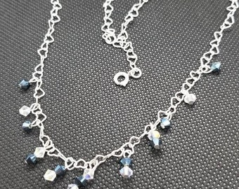 Swarovski Crystal, Blue Crystal, White Crystal, Sterling Silver, Heart Chain, Night Out, Anniversary, Birthday, Classy, Handmade Necklace