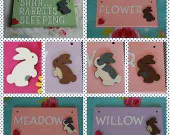 Rabbit sign Bunny sign Personalised Plaque Sign Pet Sign. Any Name/ wording, Any colour Hutch Cage Indoor Sign Bunnies Bunny Rabbits baby