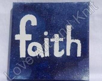 canvas acrylic painting, faith, size 15x15 cm, nursery, original painting, canvas painting, teen girl gift,
