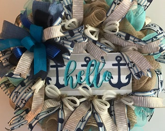 Anchor Wreath, Summer Wreath, Beach Wreath, Hello Wreath, Nautical Wreath, Shore Wreath, Front Door Wreath