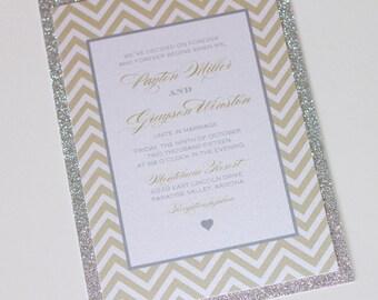 Payton Glitter Wedding Invitation - Chevron Invitation - Custom Wedding Invitation -  Glitter Invite - Gold, White, Silver Glitter - Sample