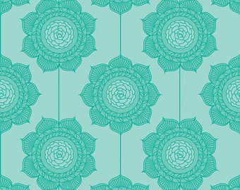 Aqua Floral Fabric, Riley Blake Cottage Garden C4222 Teal Wallpaper, Cabbage Roses, Aqua Quilt Fabric, Cotton