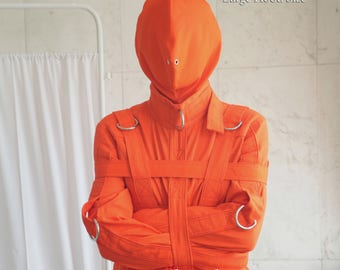 Orange Prison Bondage Straitjacket Hood