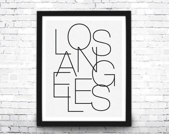 Los Angeles Art Print, Black and White Typography Art, Modern Art Print, Los Angeles Typography, Typography Poster, Los Angeles Poster, LA