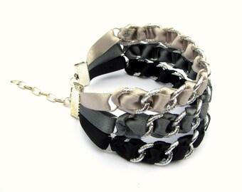 Ribbon Bracelet, Monochrome Bracelet, Cuff Bracelet, Urban Bracelet, Street Style, Multi Strand Bracelet, Woven Bracelet, Modern Bracelet