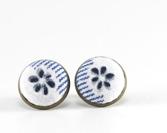 Stud Earrings - Flowers On My Jeans Earring Studs - Blue and White Fabric Buttons Jewelry - Antique Posts
