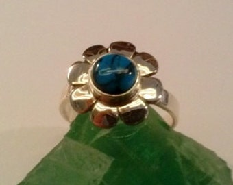 sterling silver & turquoise flower ring