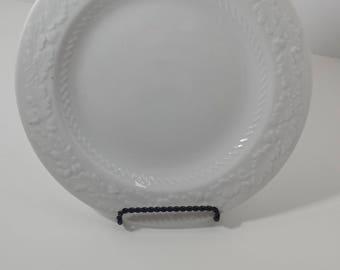 Set of 4 vintage white dessert plates