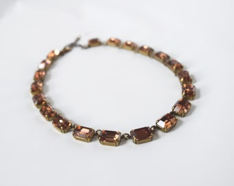 Topaz Crystal Necklace, Swarovski Crystal Jewelry, Brown Topaz Collet Necklace, Georgian Paste Jewelry, Vintage Crystal Colorado Topaz Jewel