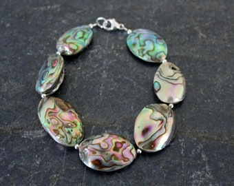 Abalone Bracelet, Large Oblong Oval Abalone Gray Shell Beads, Shell Bracelet, Abalone Jewelry, Abalone Sterling Silver Bracelet