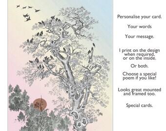 Fine Art Card, Handmade Birthday card, Blank Card, Handmade Artist's card, Custom card, Handmade Greeting Card, 'Over the Rainbow'