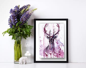 Deer wall art, deer print, deer wall  art, purple pink, animal print, stag print, watercolours deer art print